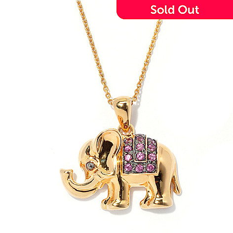 130-808 - NYC II Exotic Gemstone Elephant Pendant w/ 18'' Chain