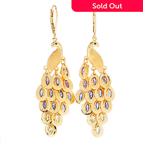 130-809 - NYC II 2.04ctw 2.25'' Multi Gemstone Peacock Chandelier Earrings