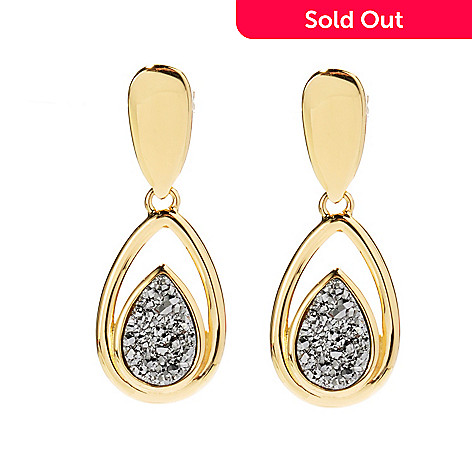 130-812 - Portofino Gold Embraced™ 12 x 8mm Silver Drusy Teardrop Earrings