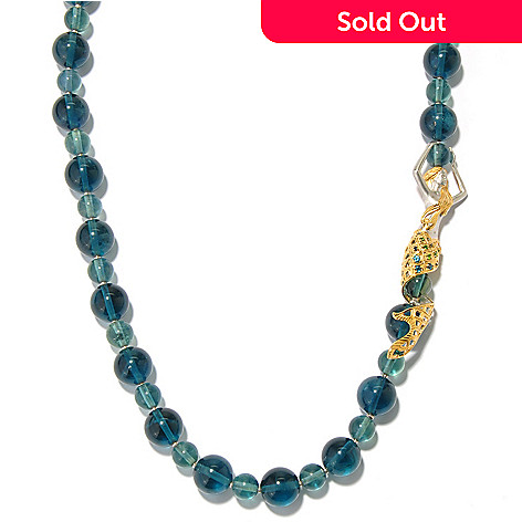 130-813 - Gems en Vogue 28'' Green Fluorite & Multi Gemstone Beaded Mermaid Necklace