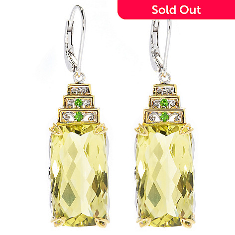130-822 - Gems en Vogue 1.5'' 19.34ctw Ouro Verde & Chrome Diopside Drop Earrings