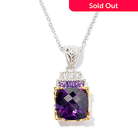 130-823 - Gems en Vogue 7.29ctw Cushion Shaped Amethyst & White Sapphire Pendant w/ Chain