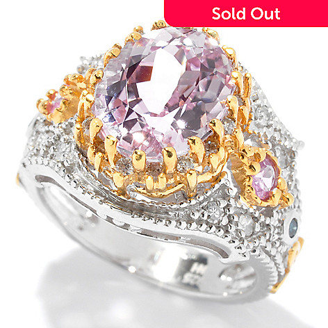 130-827 - The Vault from Gems en Vogue 4.08ctw Kunzite, Pink Sapphire & Multi Diamond Ring
