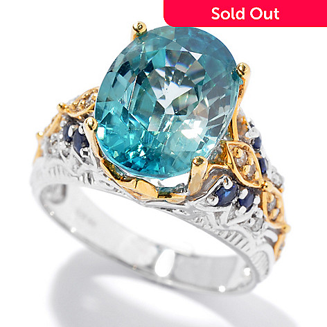 130-829 - The Vault from Gems en Vogue 6.81ctw Blue Zircon, Sapphire & Diamond Ring