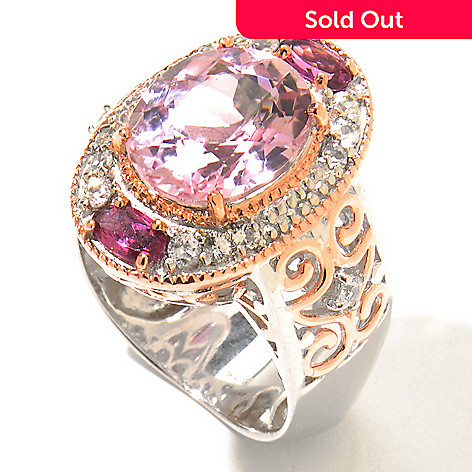 130-830 - The Vault from Gems en Vogue 6.22ctw Kunzite & Multi Gemstone Polished Ring