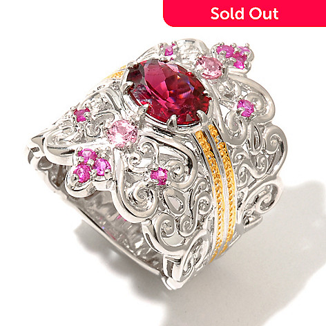 130-834 - The Vault from Gems en Vogue 2.24ctw Rubellite & Pink Sapphire Filigree Ring
