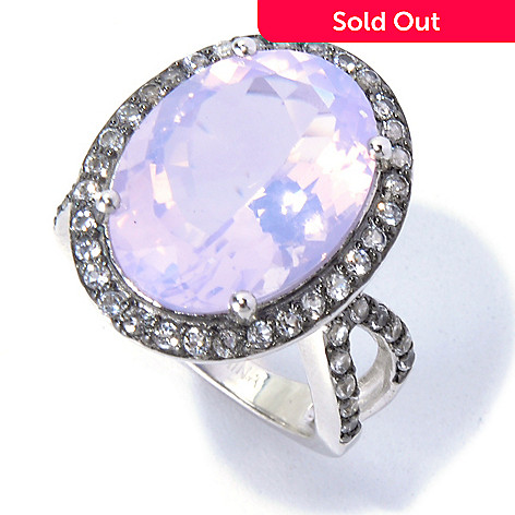 130-836 - Gem Treasures® Sterling Silver 18 x 13mm Lavender Quartz & White Topaz Ring