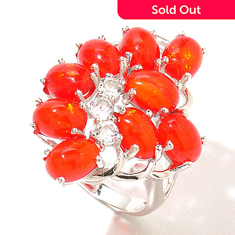 130-837 - Gem Treasures® Sterling Silver Dyed Orange Ethiopian Opal & White Topaz Cluster Ring