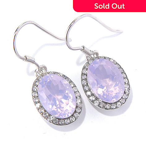 130-838 - Gem Treasures Sterling Silver Lavender Quartz & White Topaz Drop Earrings