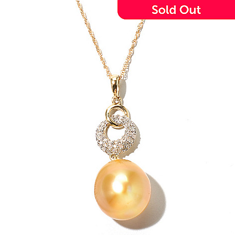 130-844 - 14K Gold 13mm Oval Golden South Sea Cultured Pearl & Diamond Pendant w/ 18'' Chain