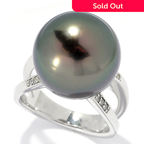 130-845 - 14K White Gold 15-16mm Round Black Tahitian Cultured Pearl & Diamond Ring