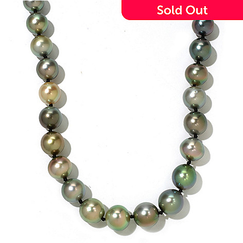 130-850 - 14K White Gold 18'' 11-12mm Multi Color Tahitian Cultured Pearl Necklace