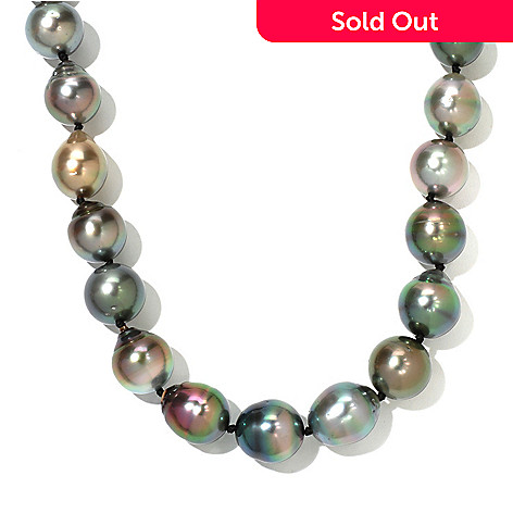 130-851 - 14K Gold 22'' 13-14.5mm Black Semi-Baroque Tahitian Cultured Pearl Necklace