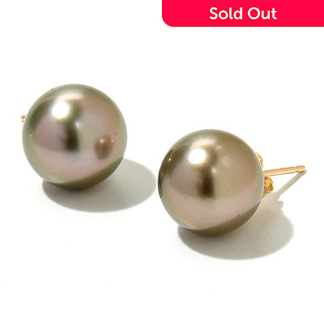 130-852 - 14K Gold 11-12mm Semi-Round Tahitian Cultured Pearl Stud Earrings