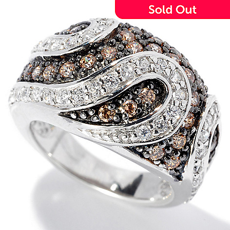 130-853 - Brilliante® Two-tone 1.47 DEW Round Cut White & Mocha Simulated Diamond Swirl Dome Ring
