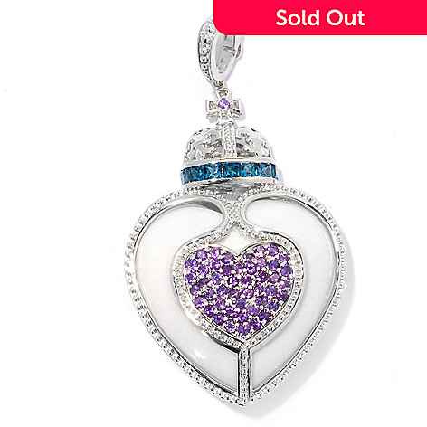 130-856 - Dallas Prince Sterling Silver 34mm Heart Shaped Agate, Topaz & Amethyst Enhancer