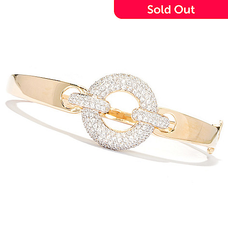 130-870 - Sonia Bitton 2.67 DEW Simulated Diamond Hinged Oval Bangle Bracelet