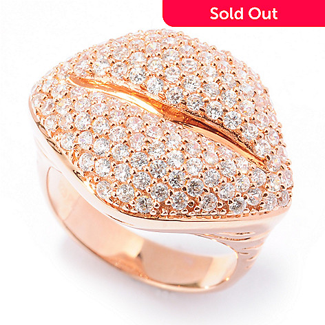 130-873 - Sonia Bitton for Brilliante® Rose Gold Embraced™ 1.86 DEW Pave Set Lips Ring