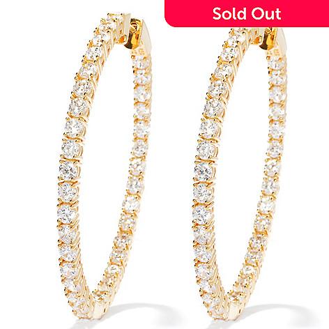 130-874 - Brilliante® 2'' 7.70 DEW Simulated Diamond Large Inside-out Hoop Earrings