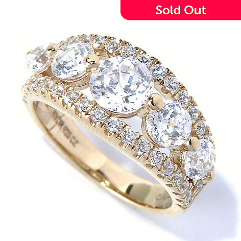 130-875 - Brilliante® 2.48 DEW Round 100-Facet Simulated Diamond Five-Stone Split Band Ring