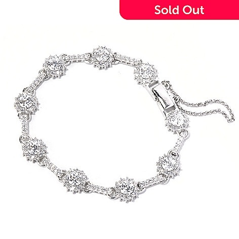 130-877 - Brilliante® Platinum Embraced™ 100-Facet Simulated Diamond Flower Halo Line Bracelet