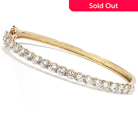 130-878 - Brilliante® 100-Facet Round Simulated Diamond Hinged Oval Bangle Bracelet