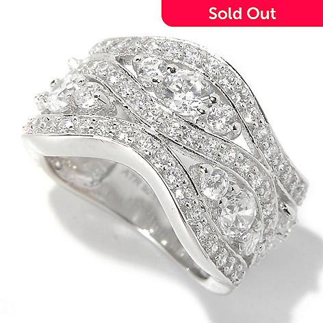 130-881 - Brilliante® 2.98 DEW Round Cut Simulated Diamond Three-Row Wave Band Ring