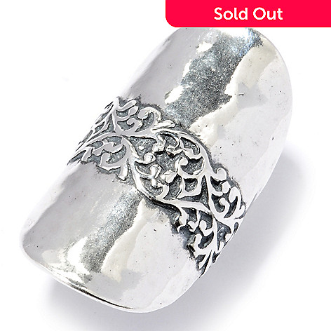 130-888 - Passage to Israel™ Sterling Silver Hammered & Filigreed Elongated Ring