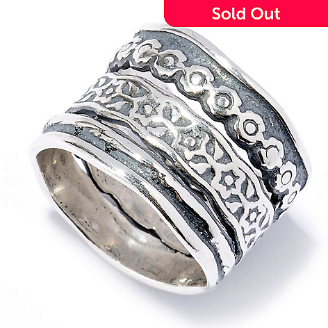 130-890 - Passage to Israel™ Sterling Silver Hammered Multi Texture Three-Row Ring