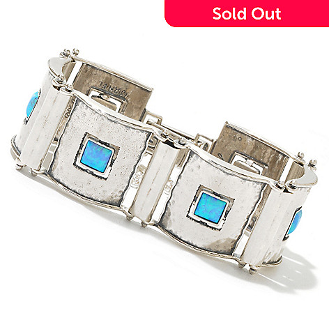 130-891 - Passage to Israel Sterling Silver 7'' Square Gemstone Hammered Link Panel Bracelet