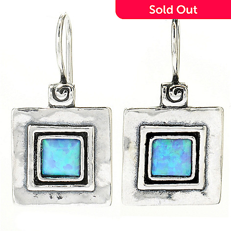 130-892 - Passage to Israel™ Sterling Silver 1'' Square Gemstone Hammered Drop Earrings