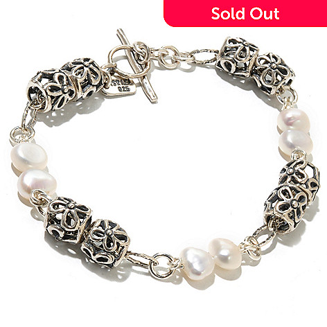 130-893 - Passage to Israel™ Sterling Silver White Freshwater Cultured Pearl Station Bracelet