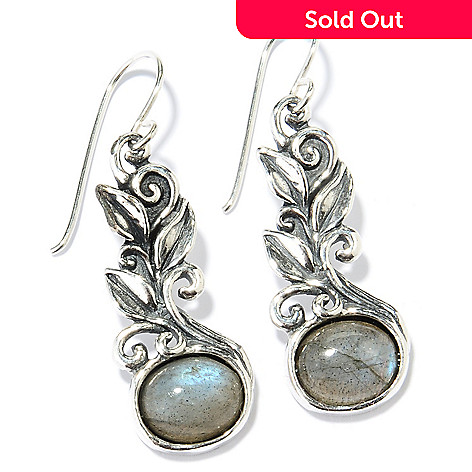 130-895 - Passage to Israel Sterling Silver 10 x 8mm Gemstone Leaf Motif Drop Earrings