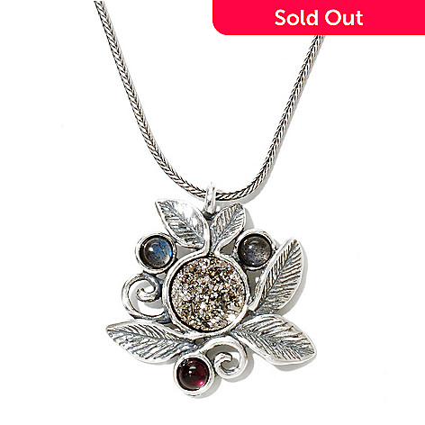 130-896 - Passage to Israel™ Sterling Silver 18'' Drusy, Garnet & Labradorite Leaf Motif Necklace