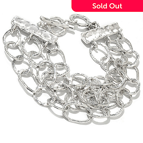 130-899 - Passage to Israel™ Sterling Silver 8.25'' Hammered Three-Strand Oval Link Bracelet