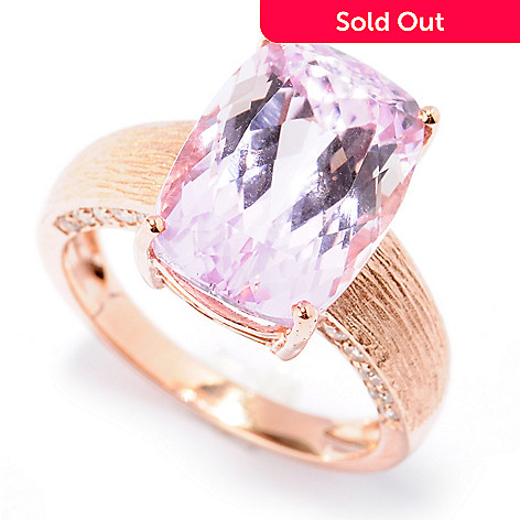 130-900 - Gem Treasures® 14K Rose Gold 8.99ctw Cushion Kunzite & Diamond Brushed Ring