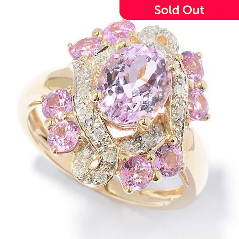 130-901 - Gem Treasures® 14K Gold 4.22ctw Kunzite, Sapphire & Diamond Oval Ring