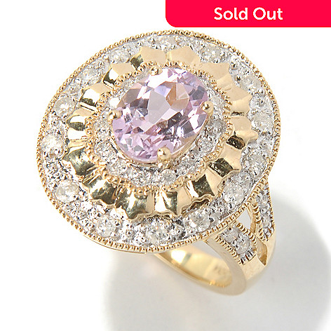 130-904 - Gem Treasures® 14K Gold 1.89ctw Kunzite & Diamond Oval Ballerina Ring