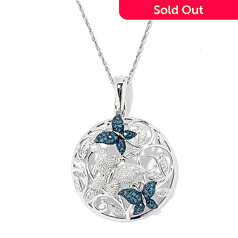130-906 - Diamond Treasures® Sterling Silver 0.33ctw Blue & White Diamond Butterfly Pendant w/ Chain