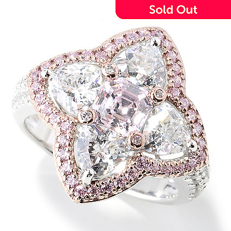 130-914 - Dare to Rare™ by Lucy Two-tone 3.40 DEW Cushion Cut Simulated Diamond Double Halo Ring