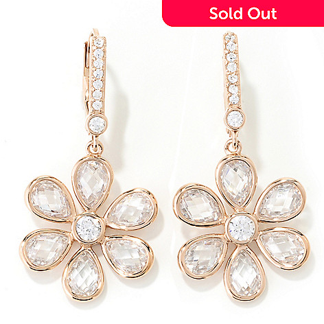 130-924 - Dare to Rare™ 1.25'' 5.22 DEW Simulated Diamond Flower Dangle Earrings