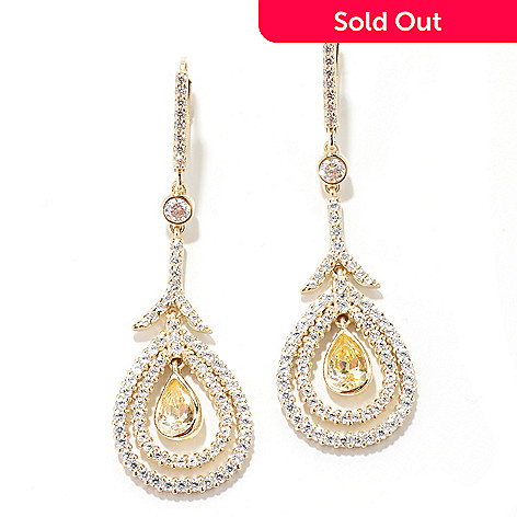 130-925 - Dare to Rare™ By Lucy 2'' Gold Embraced™ 3.57 DEW Simulated Diamond Halo Drop Earrings