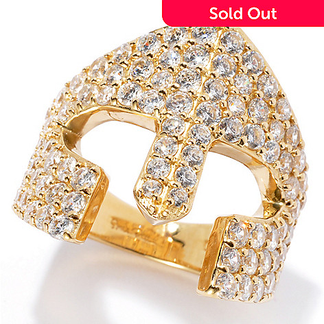 131-009 - Sonia Bitton Gold Embraced™ 2.25 DEW Simulated Diamond Mask Ring