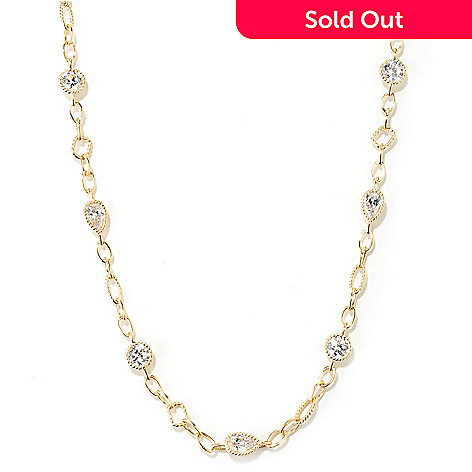 131-013 - Sonia Bitton 36'' 18.15 DEW Bezel Set Simulated Diamond Link Necklace
