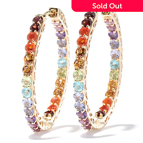 131-014 - NYC II™ 4.86ctw Multi Gemstone Exotic Rainbow Inside-Out Hoop Earrings