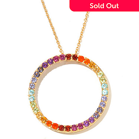 131-015 - NYC II™ 2.12ctw Multi Gemstone Exotic Rainbow Infinity Circle Pendant w/ Chain