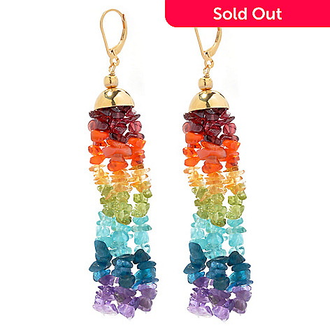 131-016 - NYC II 3.25'' Multi Gemstone Exotic Rainbow Chip Bead Dangle Earrings