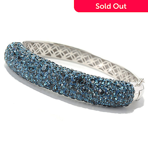 131-025 - Adaire™ 6.75'' Sterling Silver Bangle Bracelet Made w/ Swarovski® Elements