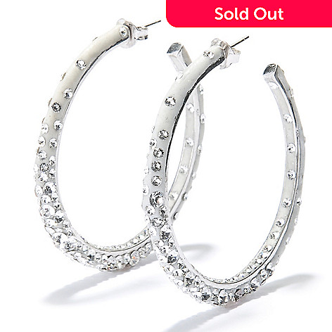 131-026 - Adaire™ 1.75'' Sterling Silver Hoop Earrings Made w/ Swarovski® Elements