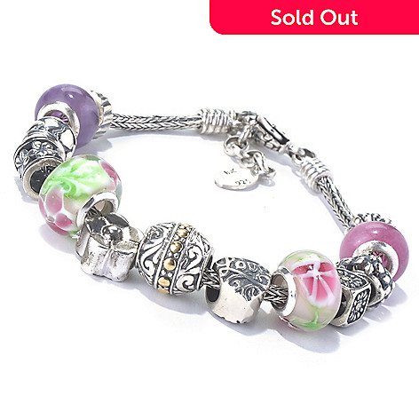 131-028 - Artisan Silver by Samuel B. 7.75'' Multi Gem & Glass Beaded Flower Charm Bracelet